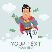 Superhero holding money in flight