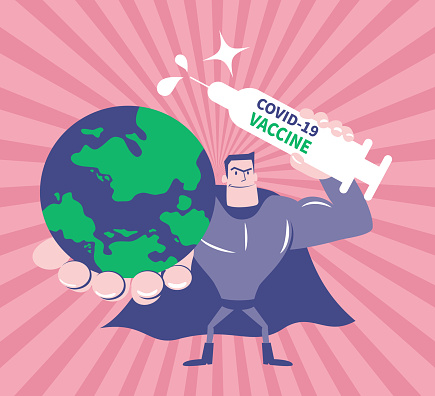 Superhero (superman) holding planet earth and vaccine syringe protecting people fighting against coronavirus disease (COVID-19), creating 100 percent antibody on coronavirus