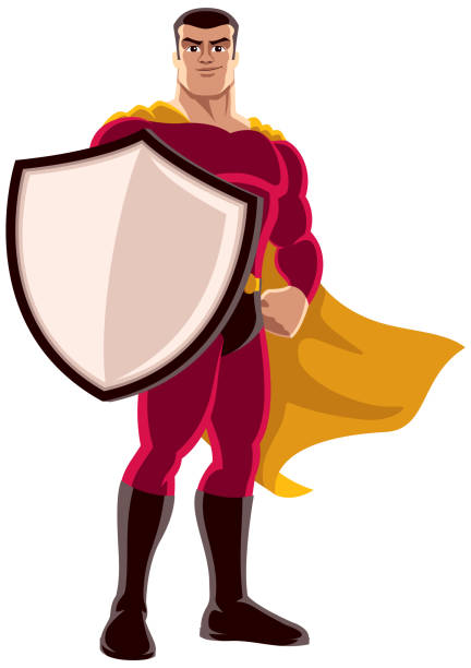 bildbanksillustrationer, clip art samt tecknat material och ikoner med superhjälte holding sköld - superhjälte isolated