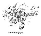 Superhero Human Figure Landing Drawing