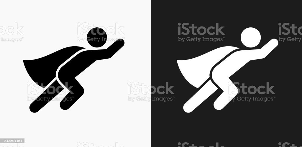 Superhero Icon on Black and White Vector Backgrounds vector art illustration