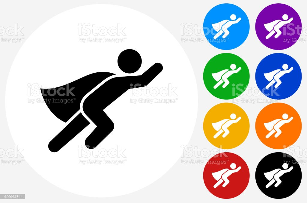 Superhero Icon on Flat Color Circle Buttons vector art illustration