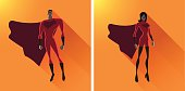 A simple vector illustration of two superheroes in icon style.