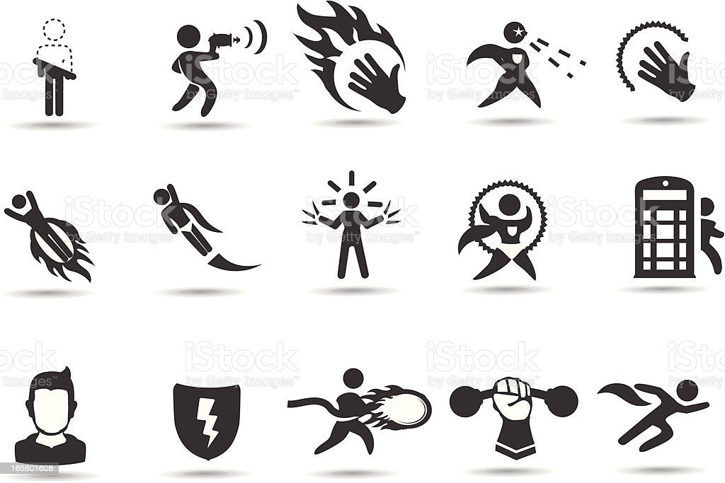 Superhero icons royalty-free stock vector art