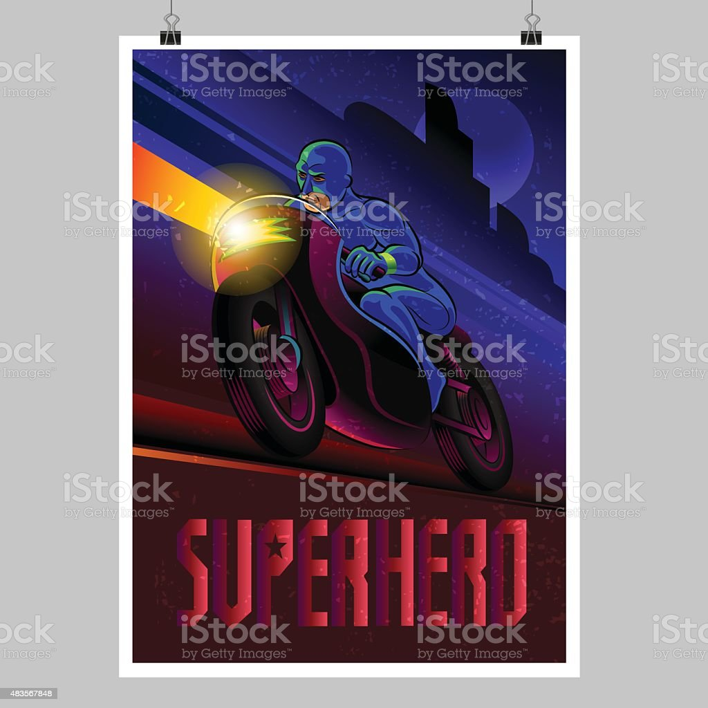 Superhero in action. Superhero motorbike rider. Poster layout vector art illustration
