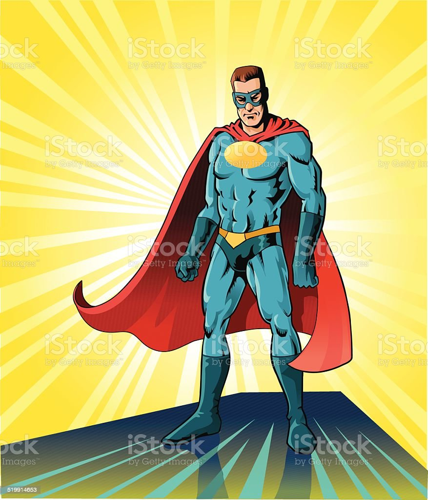 Superhero in Battle Pose vector art illustration