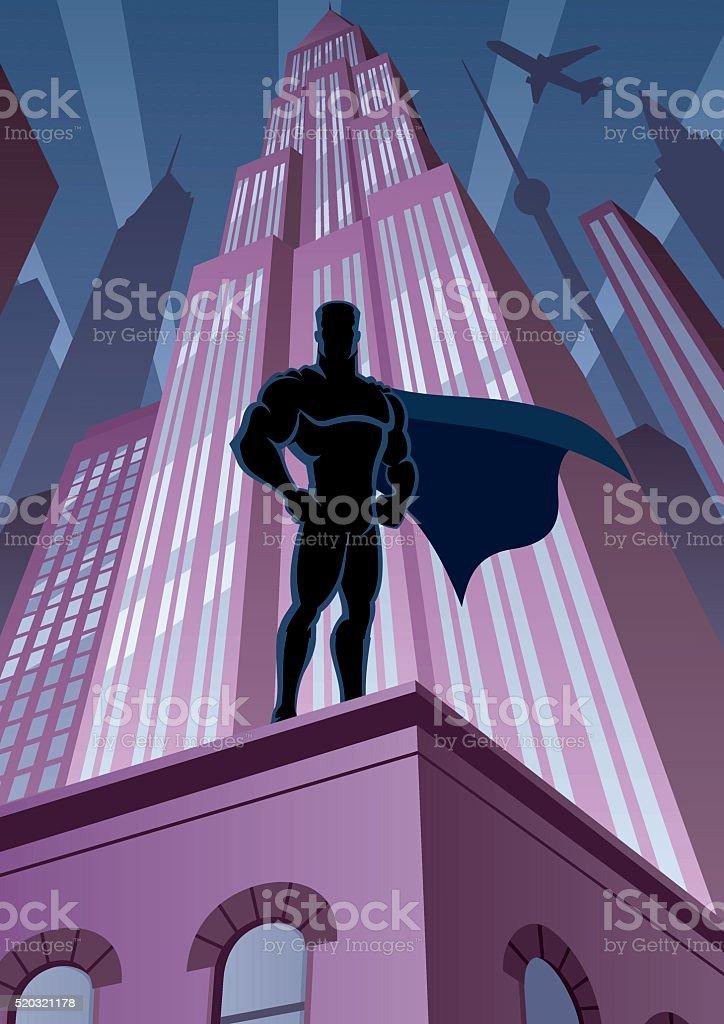スーパーヒーローの街 ベクターアートイラスト