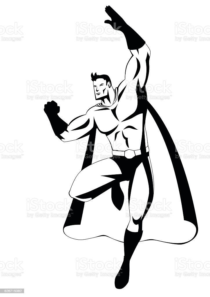 Superhero In Flying Pose vector art illustration