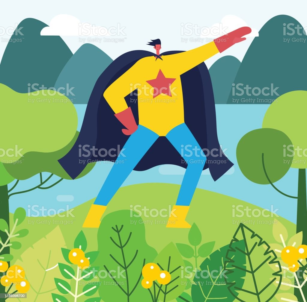 Funny Adult Comics superhero in funny comics costume in the park stock illustration - download  image now