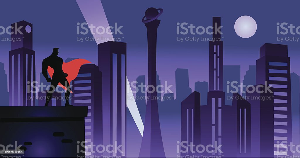 Superhero in Retro City royalty-free stock vector art