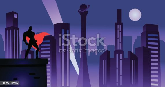 A silhouette Illustration of a superhero standing watching over a retro-styled city at night