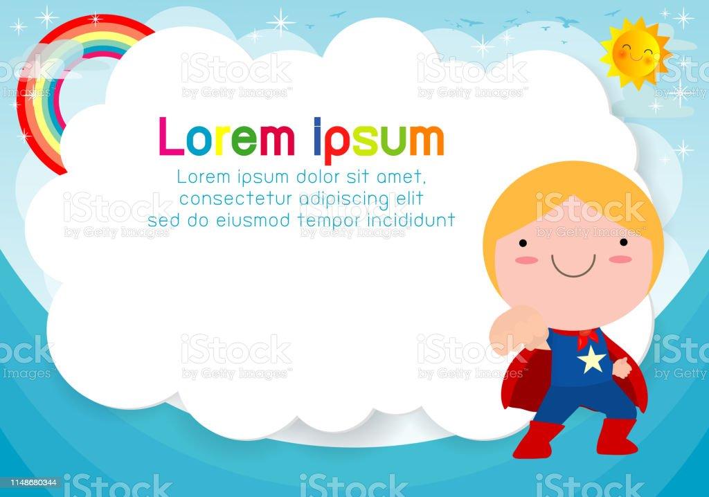 Enfant De Superhéros Sur Le Fond Modèle Pour La Brochure Publicitaire Votre Texte Mignon Petit Super Héros Enfants Enfants Et Cadre Enfant Et Cadre