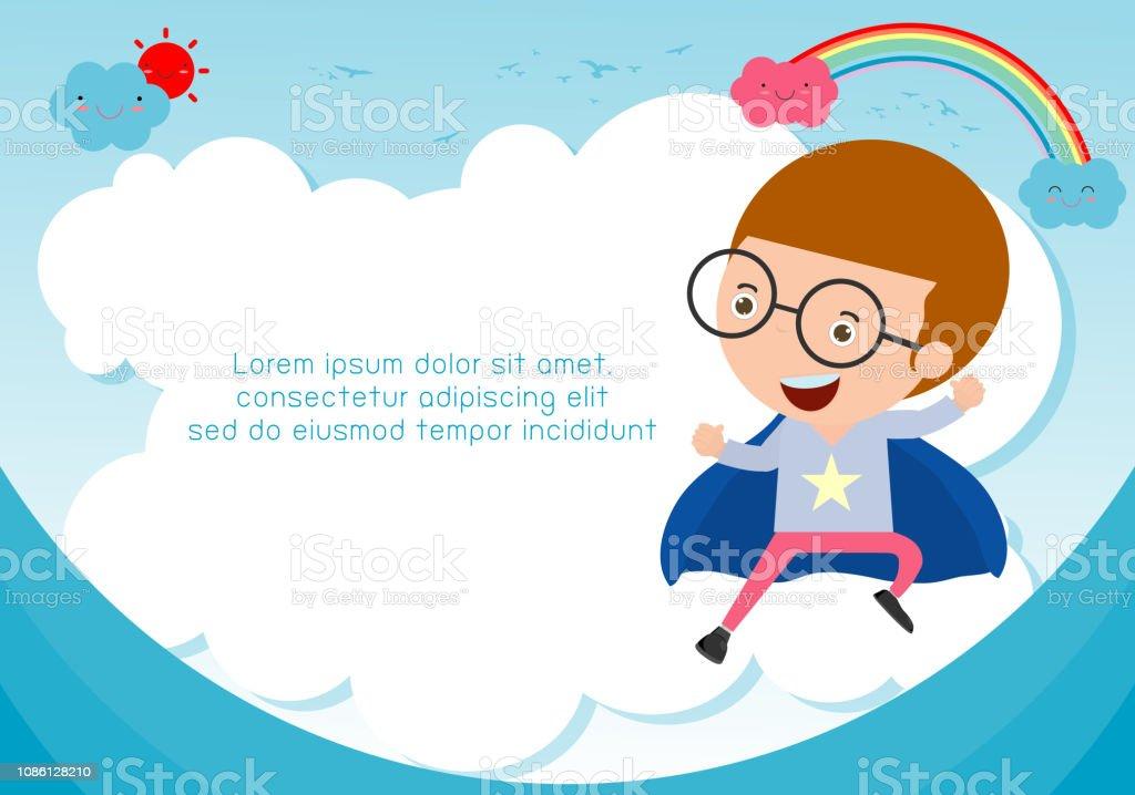 Enfant De Superhéros Sur Fond Modèle De Brochure