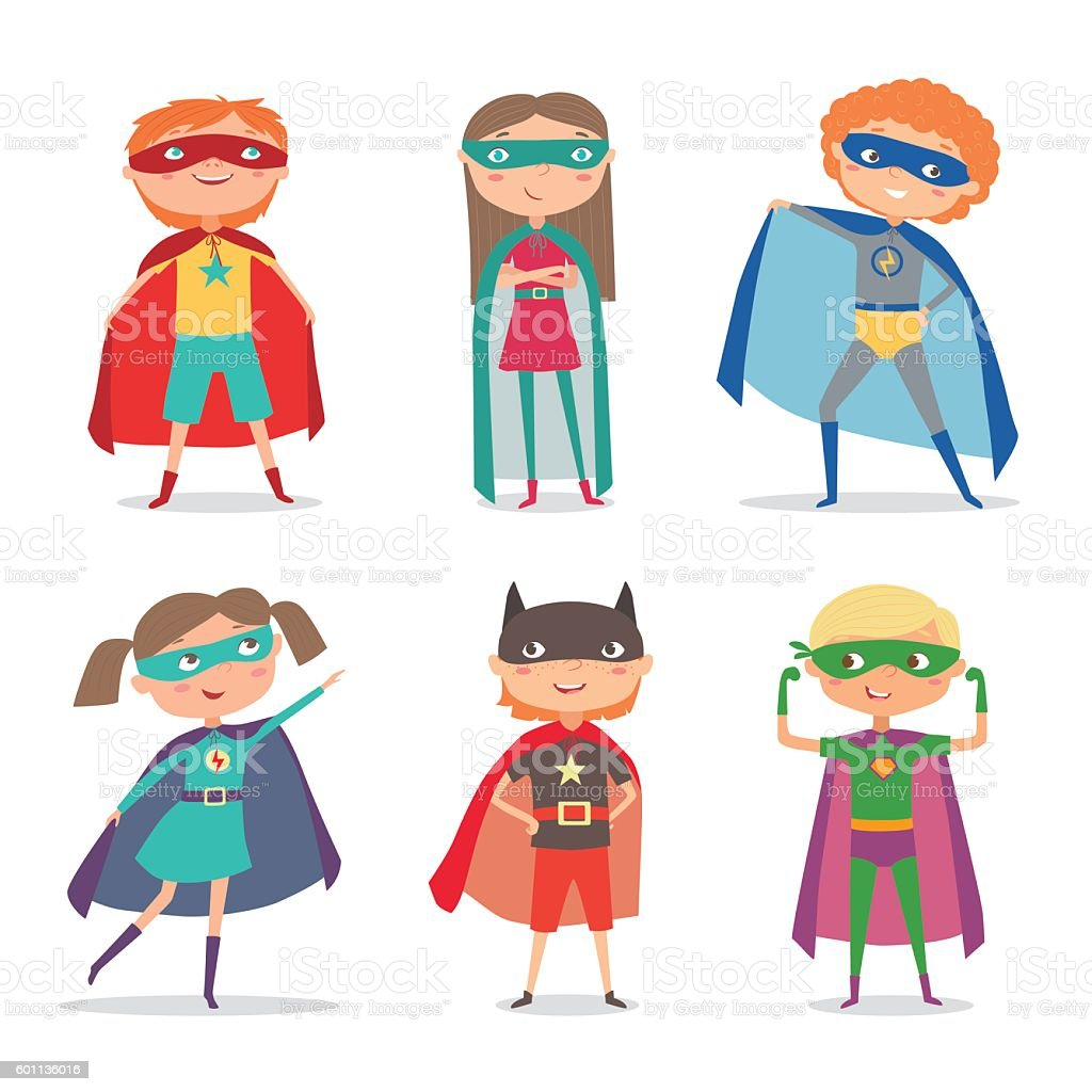 Superhero kids boys and girls. Cartoon vector illustration vector art illustration