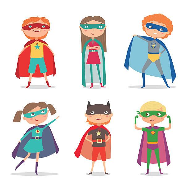 Superhero kids boys and girls. Cartoon vector illustration vector art illustration