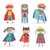 Superhero kids boys and girls. Cartoon vector illustration