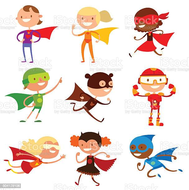 Superhero kids boys and girls cartoon vector illustrationt vector id504129106?b=1&k=6&m=504129106&s=612x612&h=vicp6axp6gd8kwyahz9vqcy1fu8x837kgqdhtbtdmdq=
