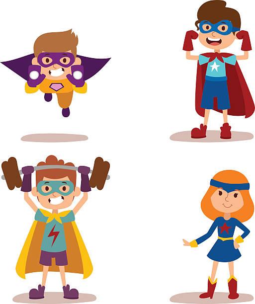 ilustrações de stock, clip art, desenhos animados e ícones de super-herói crianças rapazes e raparigas rapaz vector illustrationt - super baby