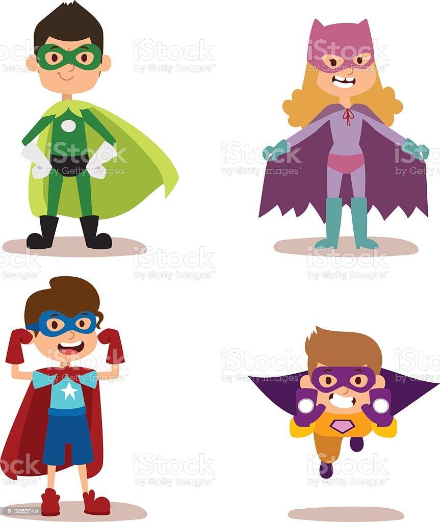 スーパーヒーロー男のお子様には、少女のカットイラスト、ベクター illustrationt ベクターアートイラスト