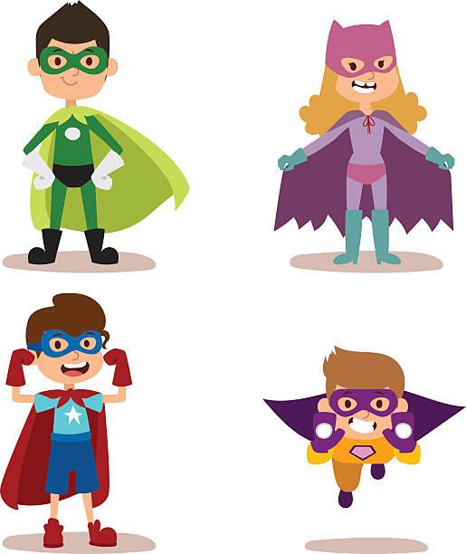 スーパーヒーロー男のお子様には、少女のカットイラスト、ベクター illustrationt - 漫画の子供たち点のイラスト素材/クリップアート素材/マンガ素材/アイコン素材