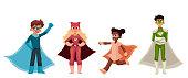 Superhero kids cartoon style vector illustration