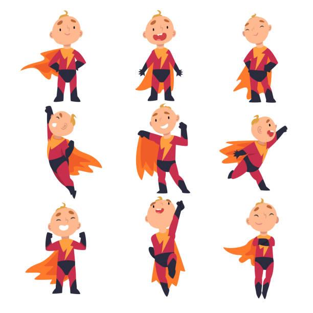ilustrações de stock, clip art, desenhos animados e ícones de superhero kids characters in different situations cartoon vector illustration - baby super hero