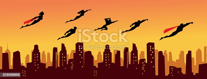 A vector silhouette style illustration of a team of superheroes flying above the city. Perfect for website header or Facebook cover. AICS5 included.