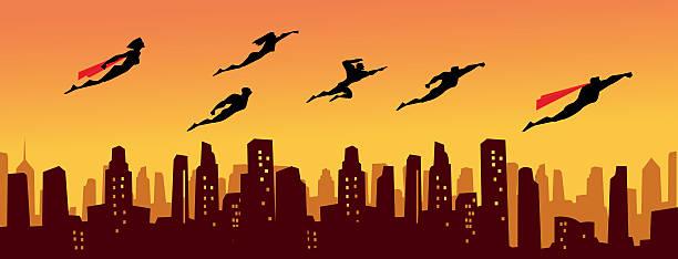 illustrations, cliparts, dessins animés et icônes de super-héros légion au-dessus de la ville - super héros
