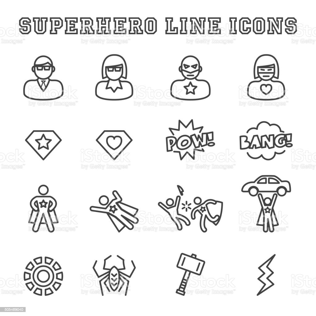 superhero line icons vector art illustration