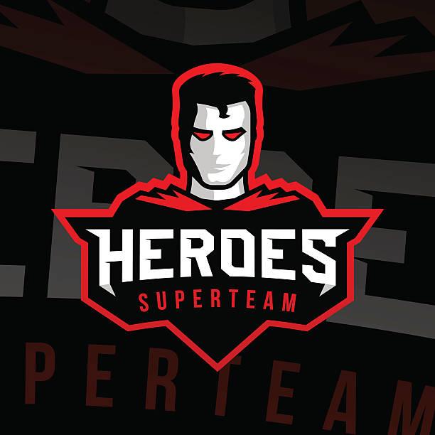 bildbanksillustrationer, clip art samt tecknat material och ikoner med superhero logo sport style - superhjälte isolated