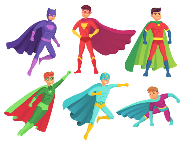 superhero man characters. cartoon muscular hero character in colorful super costume with waving cloak. flying superheroes vector set - blue clipart stock illustrations
