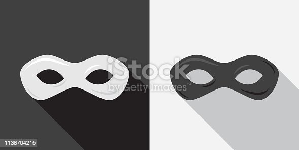 Vector illustration of a black and white superhero mask against a black and white background in flat style.