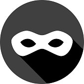 Vector illustration of a black superhero mask icon in flat style.