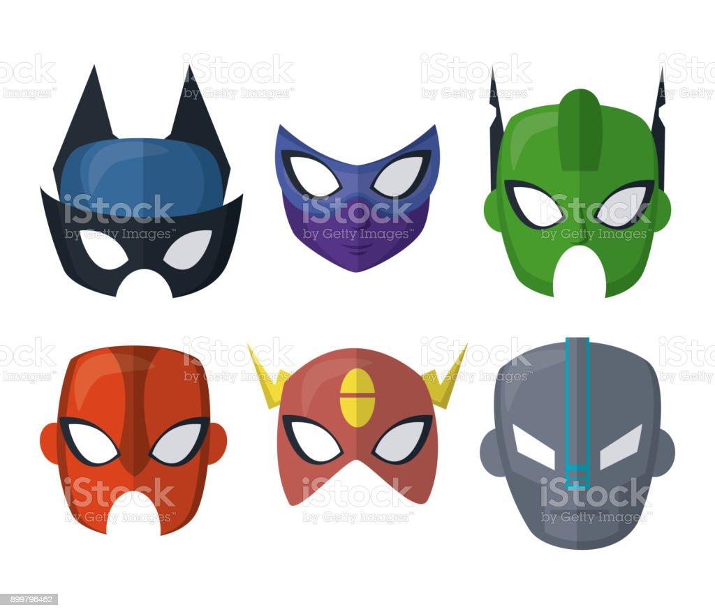 Superhelden Maske Symbole Stock Vektor Art und mehr Bilder von Cape ...