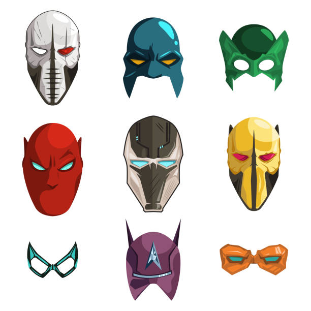 bildbanksillustrationer, clip art samt tecknat material och ikoner med superhjälte mask på ansikte och ögon tecknade serier som isolerad på vit bakgrund. vektor platt illustration av olika hjälmar för hjältar och skurkar. - superhjälte isolated