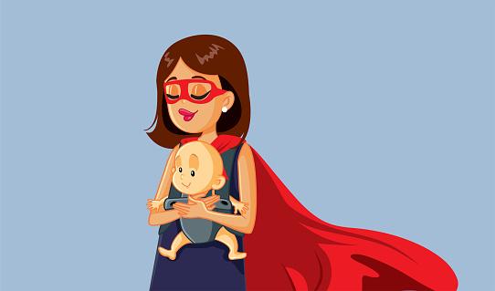 Superhero Mom Holding Baby in Carrier Vector Illustration