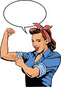 Superhero Mother Showing Muscles With Speech Balloon - Supermom