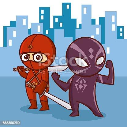 istock Superhero Ninja kids Japan cartoon super hero 883356250