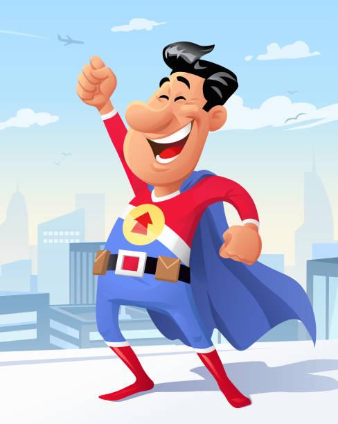 illustrations, cliparts, dessins animés et icônes de super-héros sur un toit - modèles de bande dessinée
