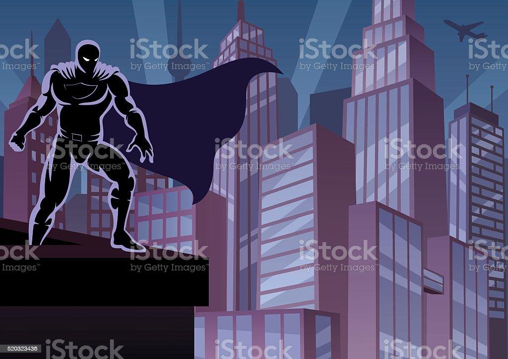 スーパーヒーローの屋根 ベクターアートイラスト