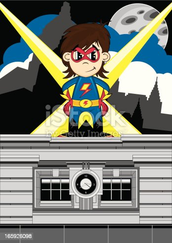 Vector illustration of a cute little Superhero on rooftop scene.