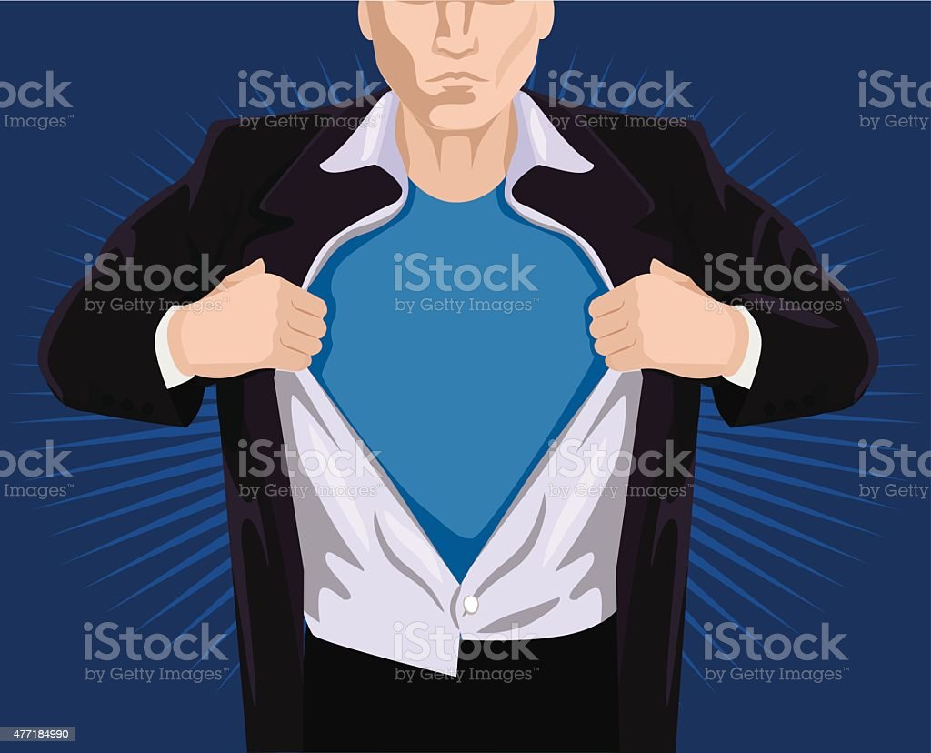 Superhero opening shirt. Vector illustration vector art illustration