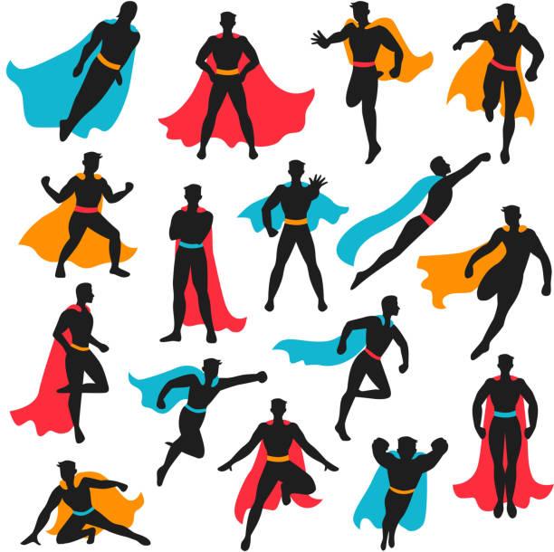bildbanksillustrationer, clip art samt tecknat material och ikoner med superhjälte människor som - superhjälte isolated