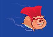 superhero piggy flying