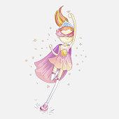 Superhero princess, little teen girl as a superhero vector cartoon illustration with gradient. Super hero girl running and fighting, brave princess, cute cartoon feminism concept about girls