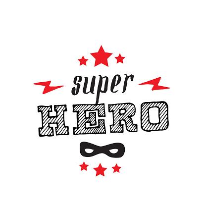 Superhero. Print for t-shirt with stars, lightnings, mask and lettering. Super hero poster. Vector.