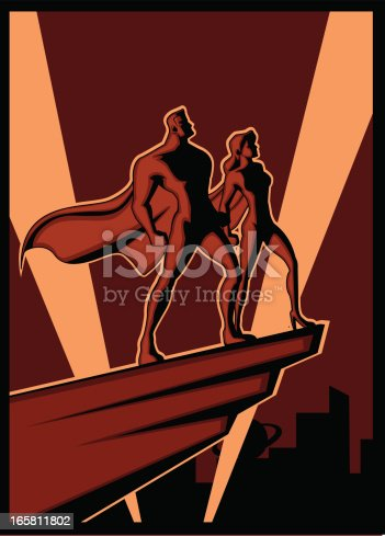 A propaganda poster style illustration of two superheroes as a symbol of power and justice in the city
