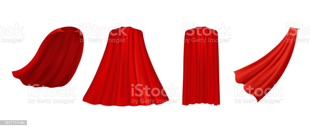 Superhero red cape in different positions, front, side and back view  on white background. vector art illustration
