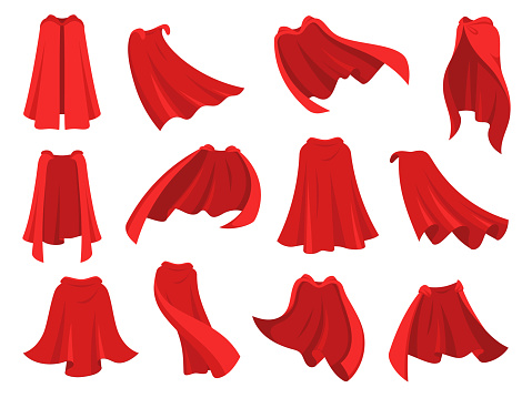 Superhero red cape. Scarlet fabric silk cloak in different position, front back and side view. Mantle costume, magic cover cartoon vector set
