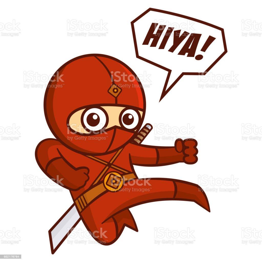 superhero red ninja kid stock vector art more images of art